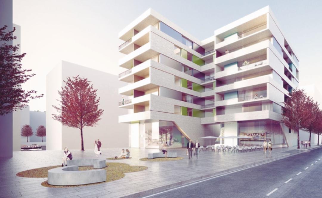 Visualisierung des altoba-Neubaus in der Baakenallee 19 mit Wohnungen und zwei Gewerbeeinheiten