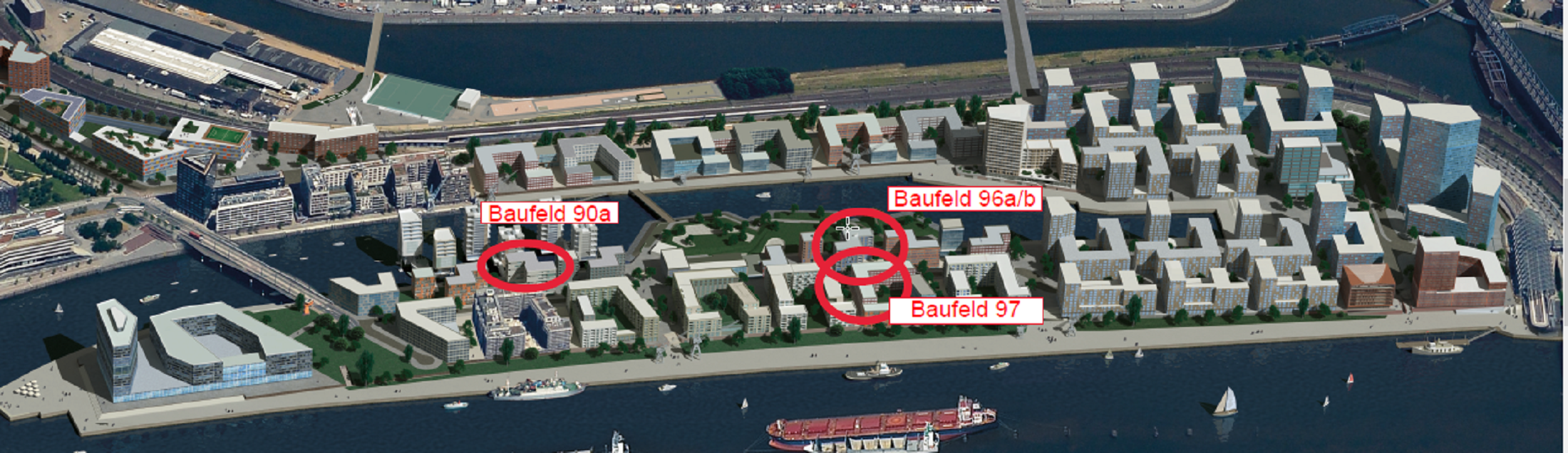 Die Baufelder der altoba im Baakenhafen als Visualisierung