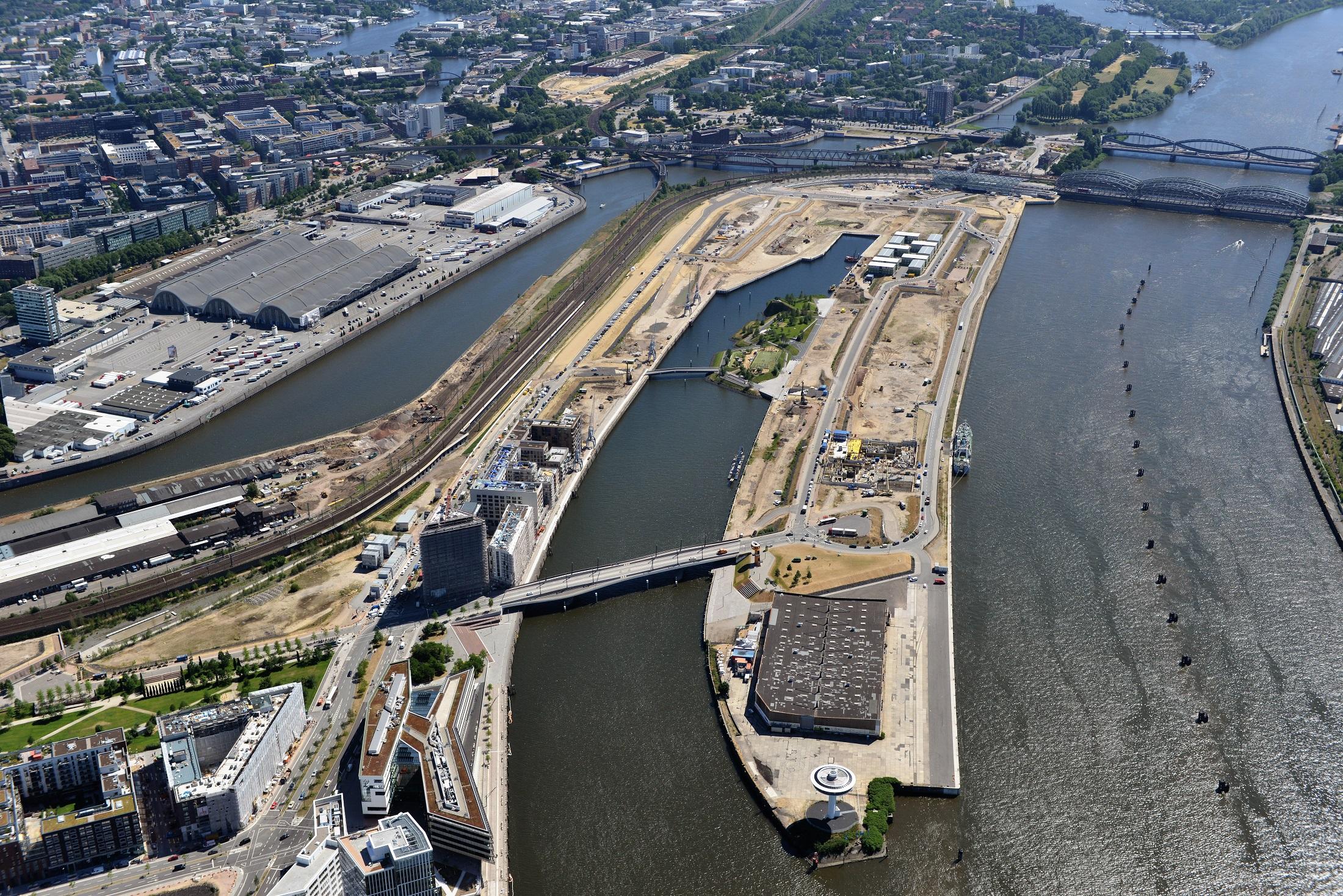 Blick auf den Baakenhafen, bevor es mit dem Bau richtig los ging