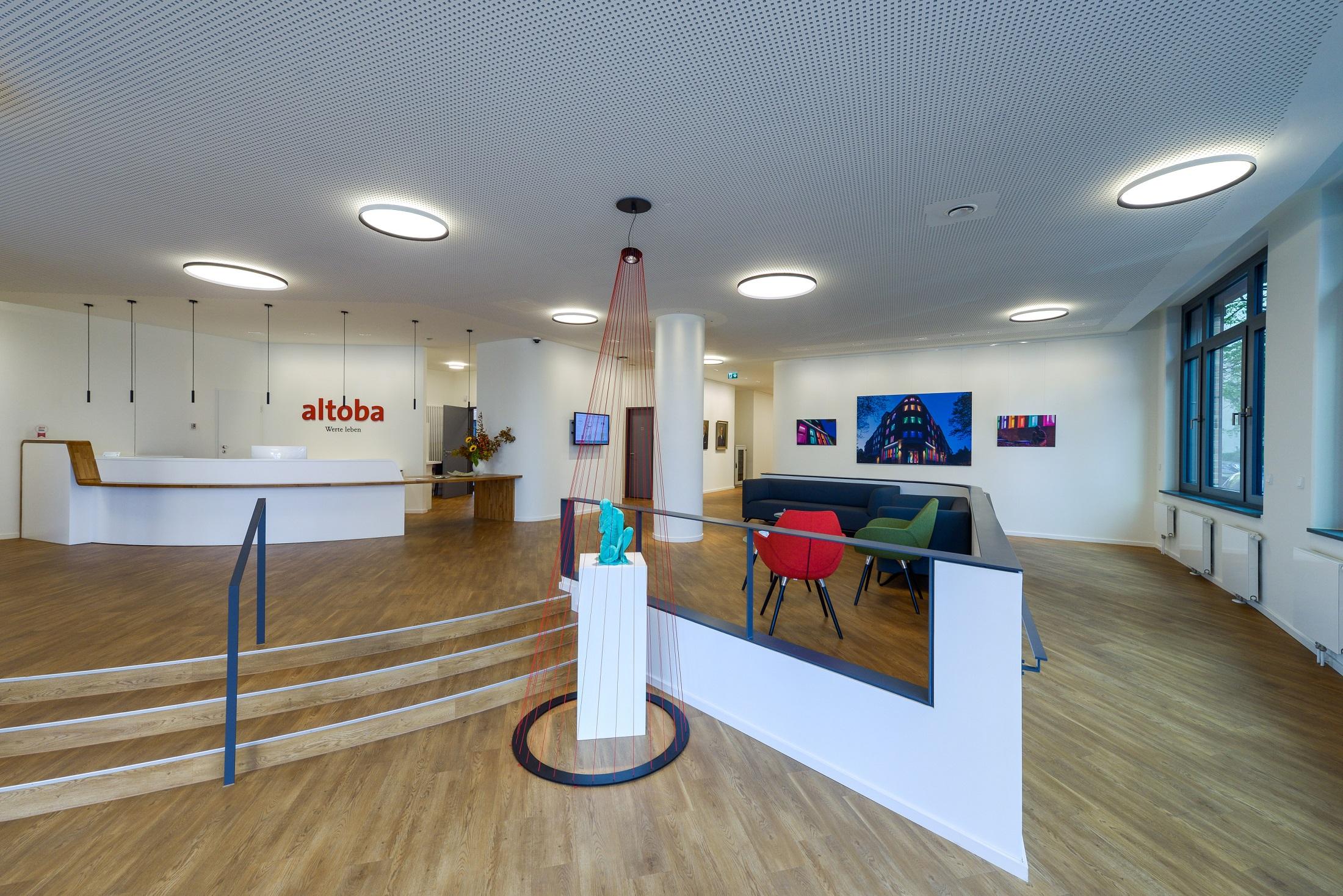 Blick in den Empfangsbereich der altoba-Geschäftsstelle an der Barnerstraße 14a.