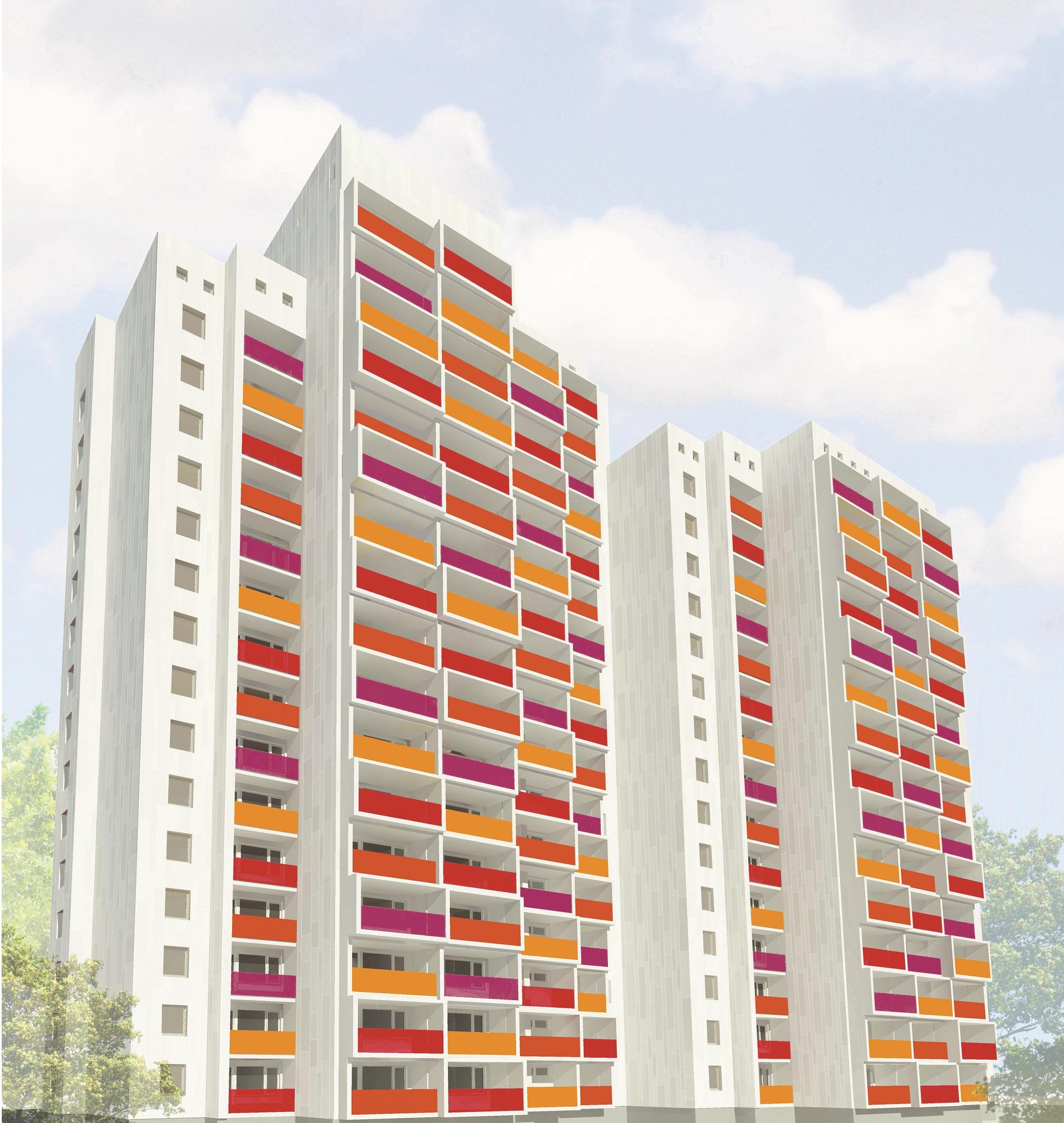 Fröhliche Balkonfarben für das markante Hochhaus am Osdorfer Born